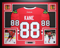 Patrick Kane Signed Chicago Blackhawks 35x43 Custom Framed Reebok Jersey (PSA COA) at PristineAuction.com