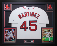 Pedro Martinez Signed Boston Red Sox 35x43 Custom Framed Majestic Jersey (Beckett COA) at PristineAuction.com