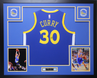 Stephen Curry Signed Golden State Warriors 35x43 Custom Framed Nike Jersey (Steiner Hologram) at PristineAuction.com