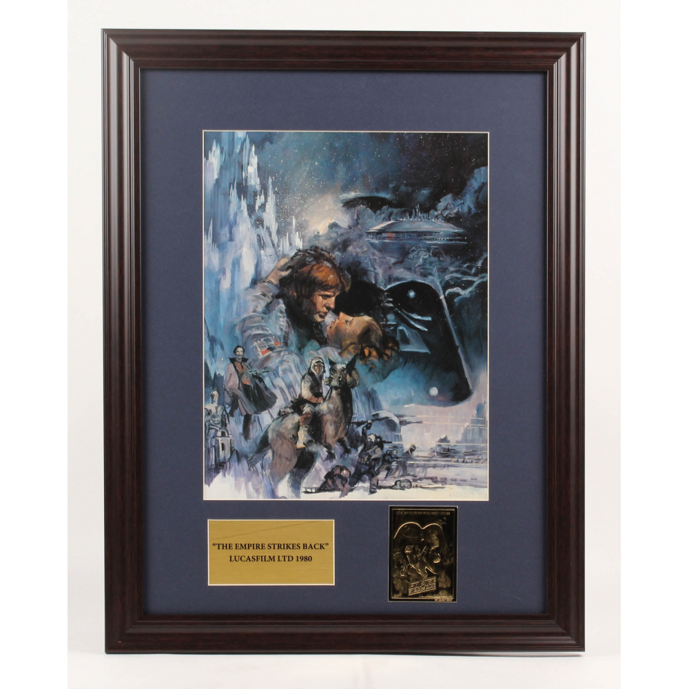 Star Wars Episode V The Empire Strikes Back 17 5x25 5 Custom Framed Movie Poster Display With 24kt Gold Card Pristine Auction