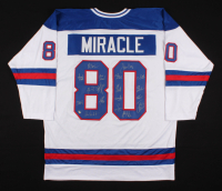 "1980 Team USA ""Miracle On Ice"" Hockey Jersey Team-Signed by (18) with Jim Craig, Mike Eruzione, Ken Morrow (Schwartz COA) at PristineAuction.com"