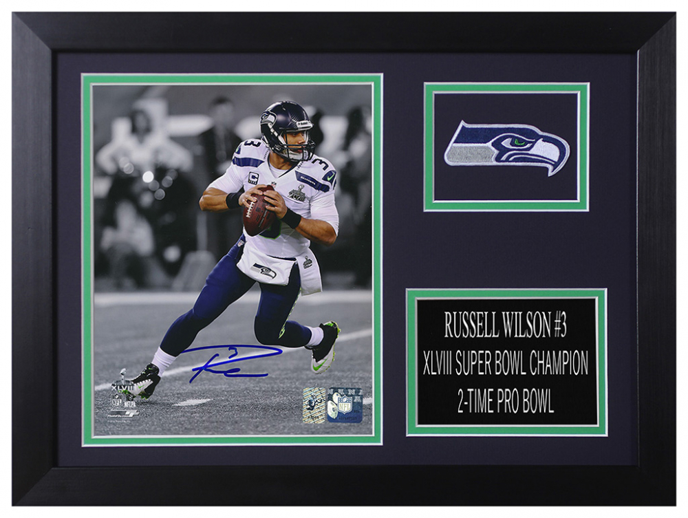 SEATLTE SEAHAWKS AUTOGRAPHED SIGNED /& FRAMED PP POSTER PHOTO RUSSELL WILSON