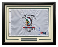 Jordan Spieth Signed 2018 U.S Open Tournament 21x27 Custom Framed Pin Flag Display (Beckett COA) at PristineAuction.com