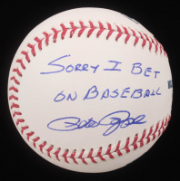 "Pete Rose Signed OML Baseball with Display Case Inscribed ""Sorry I Bet On Baseball"" (PSA COA) at PristineAuction.com"