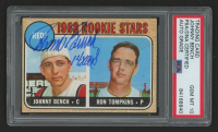 """Johnny Bench Signed 1968 Topps #247 Rookie Stars Johnny Bench RC / Ron Tompkins Inscribed """"14x AS"""" (PSA Encapsulated) at PristineAuction.com"""