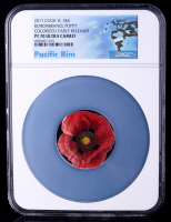 2017 Cook Islands Remembrance Poppy Shaped 1 oz Silver Colorized $5 Coin - Early Releases, Pacific Rim Label (NGC PF70 UC) at PristineAuction.com