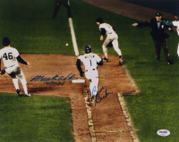 "Mookie Wilson & Bill Buckner Signed 1986 World Series 11x14 Photo Inscribed ""10/25/86"" (PSA COA) at PristineAuction.com"