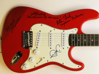 """The Monkees"" Multi-Signed Fender Squire Electric Guitar with (4) Signatures Including Davy Jones, Michael Nesmith, Peter Tork & Micky Dolenz Inscribed ""Daydream Believer"" and ""Hey Hey We're The Monkees""(JSA COA) at PristineAuction.com"