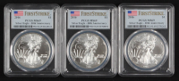 Lot of (3) 2016 American Silver Eagle $1 One Dollar Coins - First Strike, 30th Anniversary (PCGS MS69) (U.S. Flag Label) at PristineAuction.com