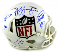 NFL Shield Logo Full-Size Authentic On-Field Speed Helmet Signed by (6) with JuJu Smith-Schuster, George Kittle, Amari Cooper, Eric Ebron, Stefon Diggs, & AJ Green (Radtke COA) at PristineAuction.com
