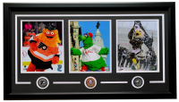 "Gritty, Phillie Phanatic & Swoop ""Philadelphia Mascots"" 18x30 Custom Framed Photo Display with (3) Pins at PristineAuction.com"