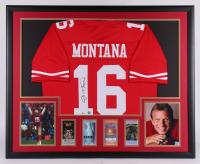 Joe Montana Signed San Francisco 49ers 34.5x42.5 Custom Framed Jersey Display (Beckett COA) at PristineAuction.com