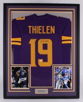 Adam Thielen Signed Minnesota Vikings 33.5x41 Custom Framed Jersey Display (JSA COA) at PristineAuction.com