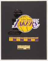 Los Angeles Lakers 11x14 Custom Matted 41 Individual Commemorative Pin Set Display at PristineAuction.com
