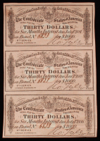 Uncut Sheet of (3) 1864 $30 Thirty Dollar Confederate States of America Richmond CSA Bank Note Bonds at PristineAuction.com