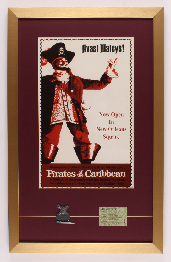 "Walt Disney's ""Pirates of the Caribbean"" 17x27 Custom Framed Print Display with Ticket & Pin at PristineAuction.com"