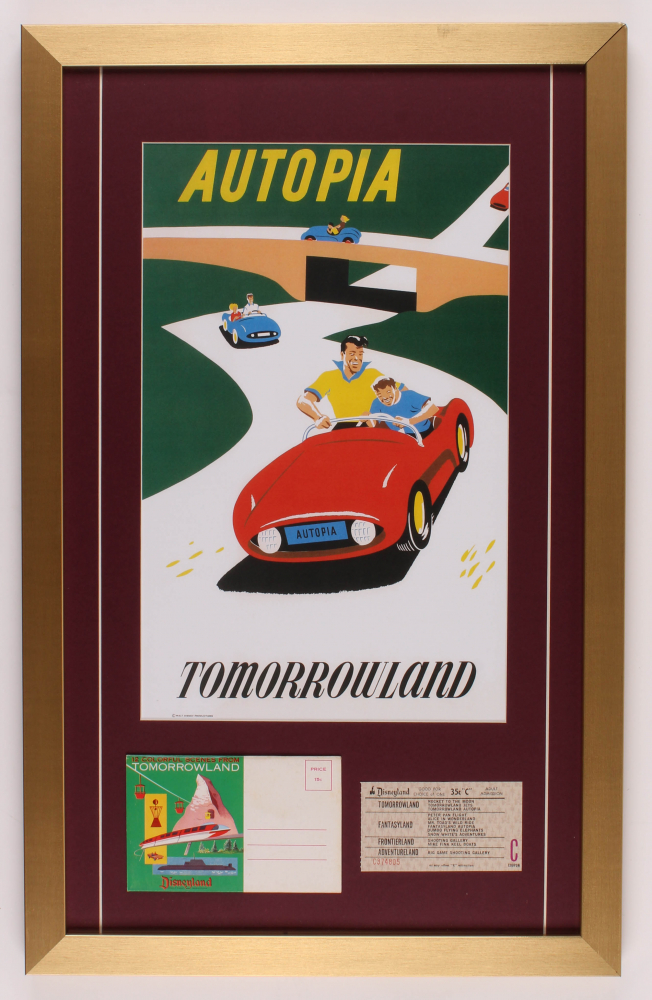 """Disneyland Tomorrowland """"Autopia"""" 17x27 Custom Framed Poster Print Display with Vintage Ticket & Booklet at PristineAuction.com"""