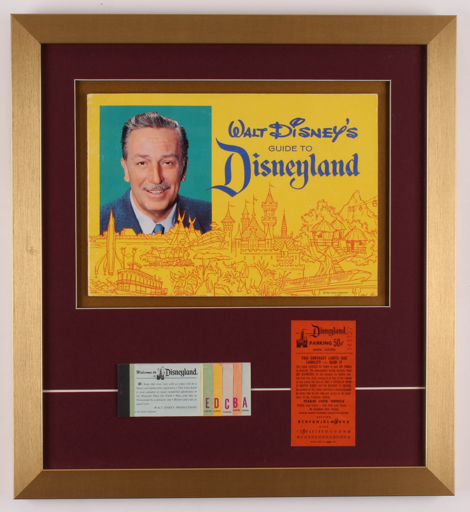 """Walt Disney's """"Disneyland"""" 17.5x19 Custom Framed Guide Display with Ticket Booklet & Parking Pass at PristineAuction.com"""