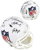 Quarterback Greats NFL Logo Full-Size Authentic On-Field Speed Helmet Signed by (8) with Brett Favre, Jim Kelly, Joe Montana, Joe Namath (Radtke COA) at PristineAuction.com