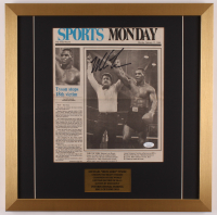 Mike Tyson Signed 19.5x19.5 Custom Framed Vintage Newspaper Display (JSA COA) at PristineAuction.com