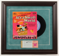 "Walt Disney's ""It's a Small World"" 15.5x16.5 Custom Framed Vinyl Record Display with Ticket Booklet at PristineAuction.com"
