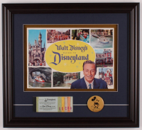 "Walt Disney's ""Disneyland"" 16.5x18 Custom Framed Guide Display with Ticket Booklet & Mickey MOuse Button at PristineAuction.com"