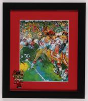 "LeRoy Neiman ""Joe Montana"" 13x15 Custom Framed Print Display with Super Bowl Pin at PristineAuction.com"