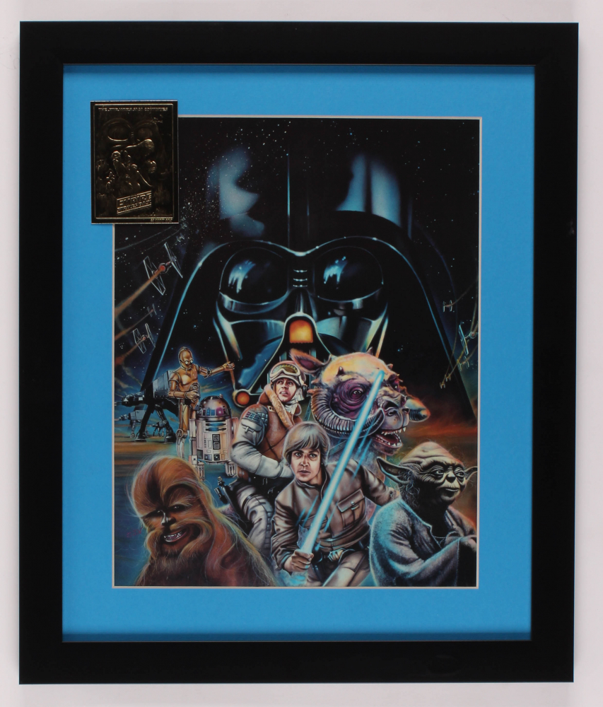 """Star Wars"" 16x19 Custom Framed Print Display with 23 KT Gold Card at PristineAuction.com"
