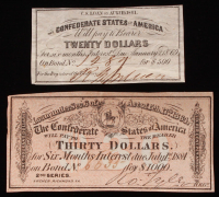 Lot of (2) Confederate States of America Richmond CSA Bank Note Bonds with (1) 1864 $30 Thirty-Dollar Note & (1) 1861 $20 Twenty-Dollar Note at PristineAuction.com