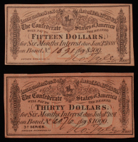 Lot of (2) Confederate States of America Richmond CSA Bank Note Bonds with (1) 1864 $30 Thirty-Dollar Note & (1) 1864 $15 Fifteen-Dollar Note at PristineAuction.com