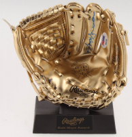 Reggie Jackson Signed Mini Gold Baseball Glove with Display Stand (PSA COA) at PristineAuction.com