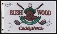 """Chevy Chase, Cindy Morgan & Michael O'Keefe Signed """"Caddyshack"""" Bushwood Country Club Pin Flag Inscribed """"Noonan"""" & """"Lacey"""" (Schwartz COA & Chase Hologram) at PristineAuction.com"""