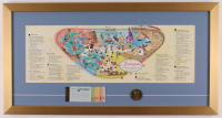 Disneyland 15x28.5 Custom Framed 1962 Original Map Display with Ticket Booklet & Coin at PristineAuction.com