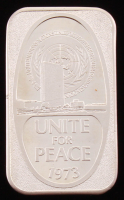 "Vintage 1973 1 Troy Ounce .999 Fine Silver ""Unite For Peace"" Bullion Bar at PristineAuction.com"