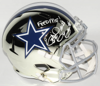 "Ezekiel Elliott Signed Dallas Cowboys Full-Size Chrome Speed Helmet Inscribed ""Feed Me!"" (Radtke COA) at PristineAuction.com"