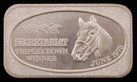 "Vintage 1973 1 Troy Ounce .999 Fine Silver ""Secretariat"" Bullion Bar at PristineAuction.com"