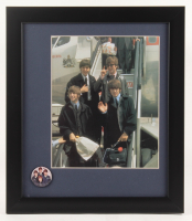 The Beatles 13x15 Custom Framed Photo Display with Vintage Beatles Pin at PristineAuction.com