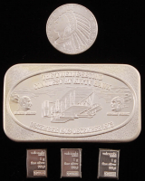 Lot of (5) .999 Fine Silver Bullion Items with (1) Vintage 1973 1 Troy Ounce Bar, (1) 1929 1/10 Troy Ounce Indian Head Round, & (3) 1 Gram Valcambi Bars at PristineAuction.com
