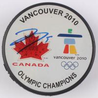Joe Thornton Signed 2010 Vancouver Olympic Champions Logo Hockey Puck (JSA COA) at PristineAuction.com