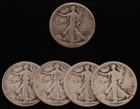Lot of (5) 1917-1943 Walking Liberty Silver Half Dollars at PristineAuction.com