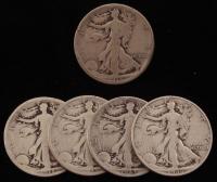Lot of (5) 1918-1946 Walking Liberty Silver Half Dollars at PristineAuction.com