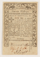 1786 Twenty Shillings Rhode-Island Colonial Currency Note at PristineAuction.com