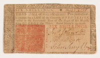 1776 Six Shillings New Jersey Colonial Currency Note at PristineAuction.com