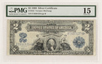 1899 $2 Two Dollars U.S. Silver Certificate Large Size Bank Note (PMG 15) at PristineAuction.com