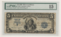"1899 $5 Five Dollars ""Indian Chief"" Silver Certificate Large Size Bank Note (PMG 15) at PristineAuction.com"
