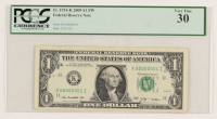 Rare Serial #1 2009 $1 One Dollar Federal Reserve Note (PCGS 30) at PristineAuction.com