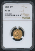 1913 $2.50 Indian Quarter Eagle Gold Coin (NGC MS 61) at PristineAuction.com