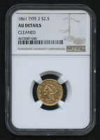 1861 $2.50 Liberty Head Quarter Eagle Gold Coin - Type 2 (NGC AU Details) at PristineAuction.com