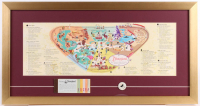 Disneyland 15x28.5 Custom Framed 1959 Original Map Display with Ticket Booklet & Vintage Mickey Mouse Pin at PristineAuction.com