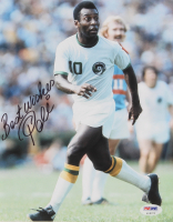 "Pele Signed New York Cosmos 8x10 Photo Inscribed ""Best Wishes"" (PSA COA) at PristineAuction.com"